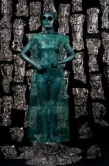 The image of a girl alien shot in studio