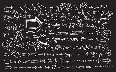 arrows doodle set on blackboard EPS10 vector