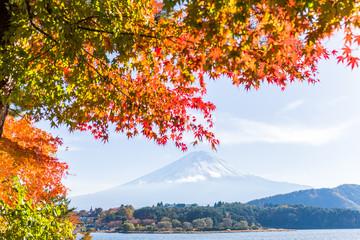 Lake Kawaguchi and Mount Fuji in Autumn