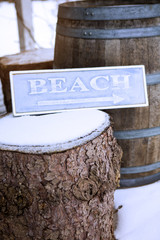 wooden sign on tree stump with the word Beach