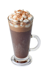 Poster Chocolate Hot chocolate with marshmallows in glass cup on white