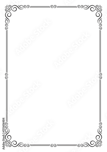 ornate frame template for card certificate diploma a4 page proportions