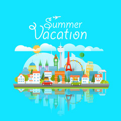 Dirrefent world famous sights. Summer vacation travelling concep
