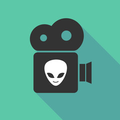 Long shadow cinema camera with an alien face