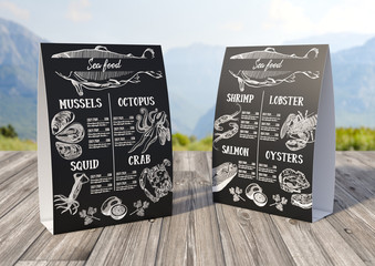 Illustration, design for a seafood restaurant menu