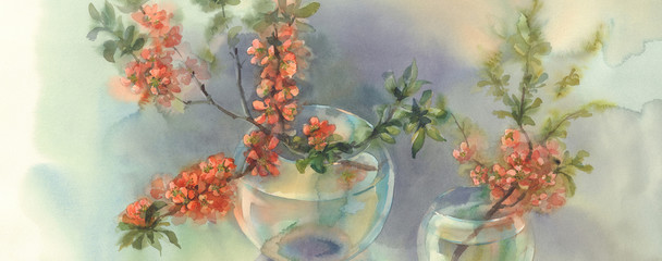 Branches of blooming quince still-life watercolor