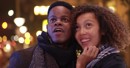 Young black couple have a night on the town
