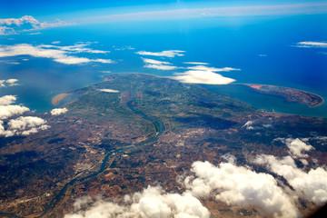 Deltebre Aerial Delta Ebro river in Tarragona