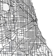 Black and white scheme of Chicago, USA. City Plan of Chicago