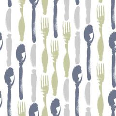 Seamless pattern of knifes, forks, spoons. Hand drawn illustration. Background for restaurant menu.