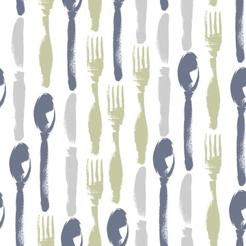 Seamless pattern of knifes, forks, spoons. Hand drawn illustration. Background for restaurant menu.