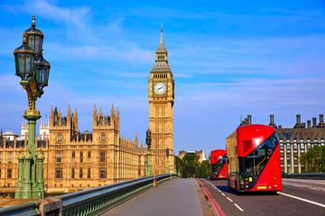 Autocollant pour porte Londres bus rouge Big Ben Clock Tower and London Bus