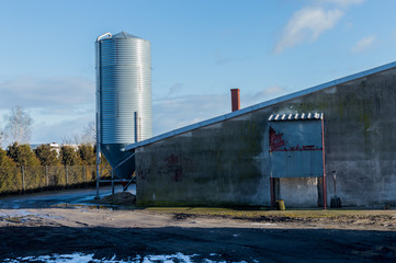 Modern farm buildings where poultry stock is managed.