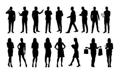 Business people, large set of vector silhouettes of men and wome Wall mural