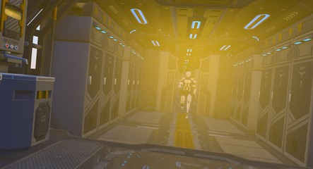 Robot Approaching Down Science Fiction Spacecraft Corridor 3D Rendering