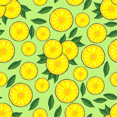 Citrus slices and leaves. Seamless pattern. Vector illustration.