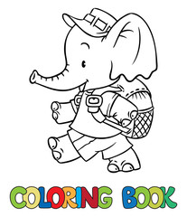 Coloring book of funny little funny baby elephant with backpack. Children vector illustration