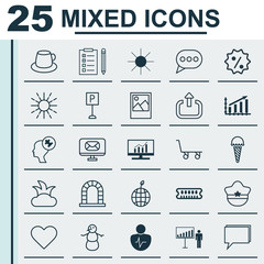 Set Of 25 Universal Editable Icons. Can Be Used For Web, Mobile And App Design. Includes Elements Such As Follow, Dynamic Memory, Email And More.