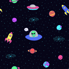 Seamless cartoon space pattern with aliens, rockets, planets, stars over the night sky background