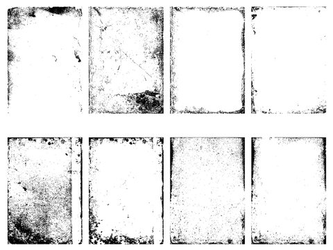 Set of the vector grunge textures isolated on white background.