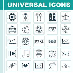 Set Of 25 Universal Editable Icons. Can Be Used For Web, Mobile And App Design. Includes Elements Such As Chip, Note, Moving Staircase And More.