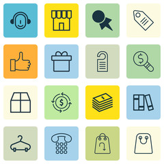 Set Of 16 E-Commerce Icons. Includes Cardboard, Employee, Dollar Banknote And Other Symbols. Beautiful Design Elements.