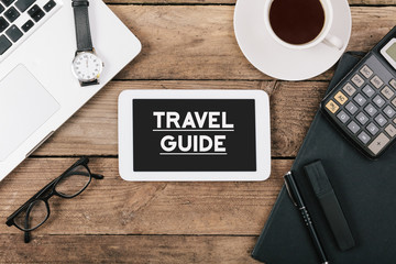 Headline Travel Guide on tablet computer