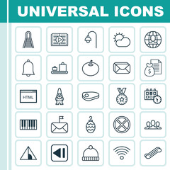 Set Of 25 Universal Editable Icons. Can Be Used For Web, Mobile And App Design. Includes Elements Such As Clear Climate, Coding, Lamppost And More.