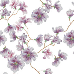 Seamless pattern with violet flowers. Watercolor illustration.
