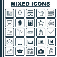 Set Of 25 Universal Editable Icons. Can Be Used For Web, Mobile And App Design. Includes Elements Such As Controlling Board, Electronic Tool, Reminder And More.