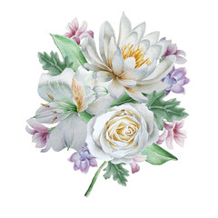 Watercolor bouquet with flowers. Rose. Lily. Alstroemeria,