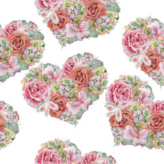 Watercolor valentines heart. Seamless pattern.