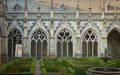The Pandhof in Utrecht, Netherlands, is a medieval cloister with