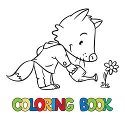 Coloring book of little funny fox watering flower