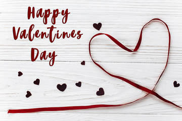happy valentines day text sign.valentine concept. stylish ribbon