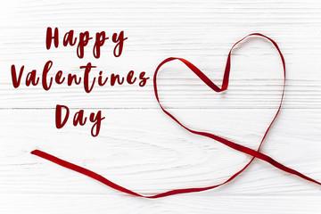 happy valentine day text sign.valentine concept. stylish ribbon
