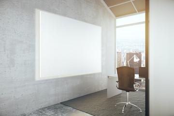 Blank billboard in office