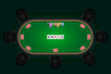 Poker table with black chairs and cards with chips. Vector illus