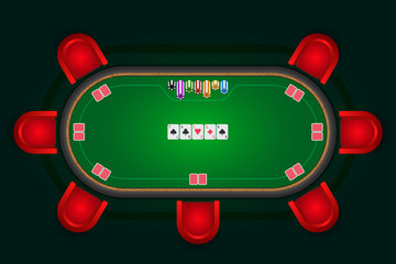 Poker table with red chairs and cards with chips. Vector illustr