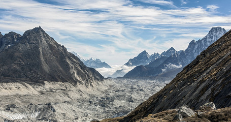 View to the South alon the Gokyo glacier from the region of the Cho Oyu base camp - Nepal, Himalayas