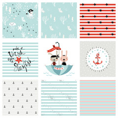 Creative seamless patterns and prints set. Pirate and marine design. Vector illustration.