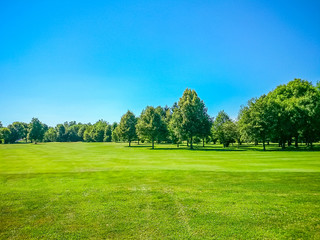 Golf course, natural green meadow, blue sky