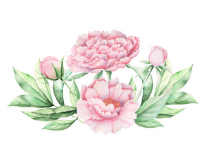 Hand painted Watercolor flower bouquet, isolated on white background