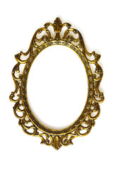 Empty baroque picture frame isolated on white background