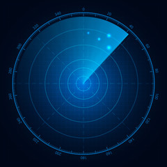 Digital blue radar with targets on monitor. Isolated on black ba