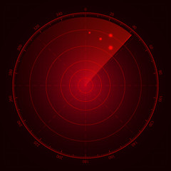 Digital red radar with targets on monitor. Isolated on black bac