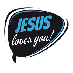 jesus loves you retro speech bubble