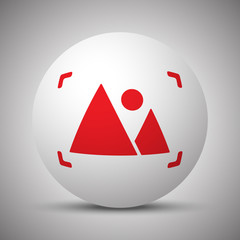 Red Picture icon on white sphere
