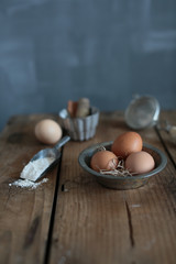 Dish of eggs on a wooden table