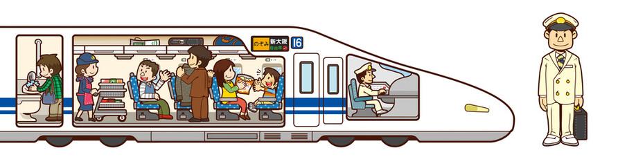 新幹線と車掌さんのイラスト
